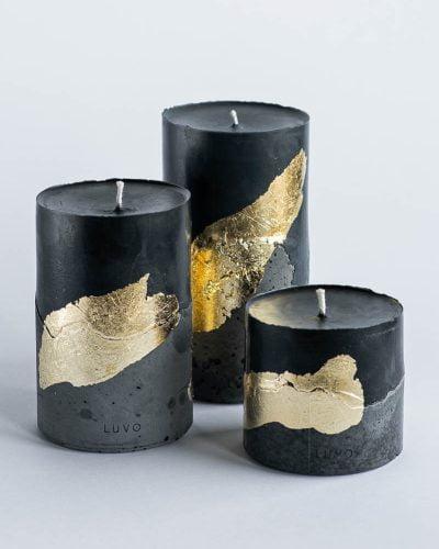 Zestaw świec naturalnych ze złotem